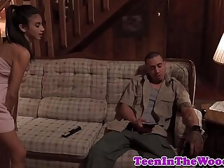 Stranded babe fucked and facialized