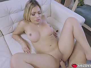 Widening her legs wide open for stepbro to make her cum