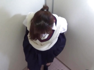 Uniform legal age teenager masturbates