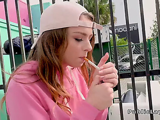 Legal Age Teenager smokin' and fucking in public