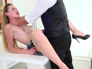 Schoolgirl Takes Her Tutors Cumshot