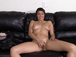 Hot Cashier Girl enjoys a Fuck and Facial on Casting Couch