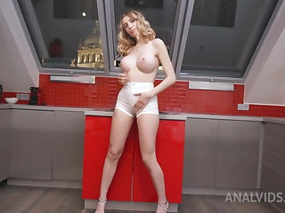 Fisting her ass before anal sex with a monster cock - Paola Hard