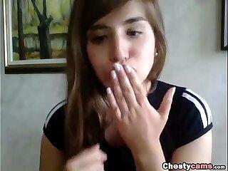 Teen masturbates front the webcam