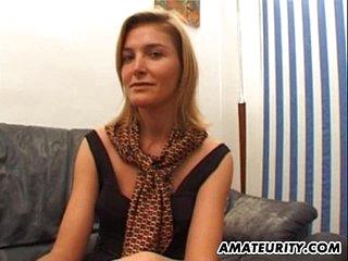 Blindfolded amateur girlfriend sucks and fucks